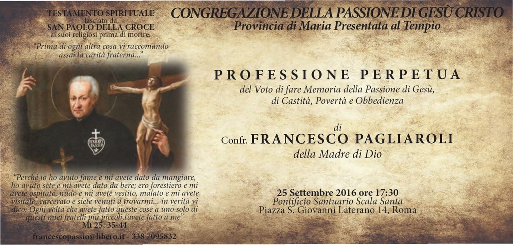 Professione perpetua di C. Francesco Pagliaroli