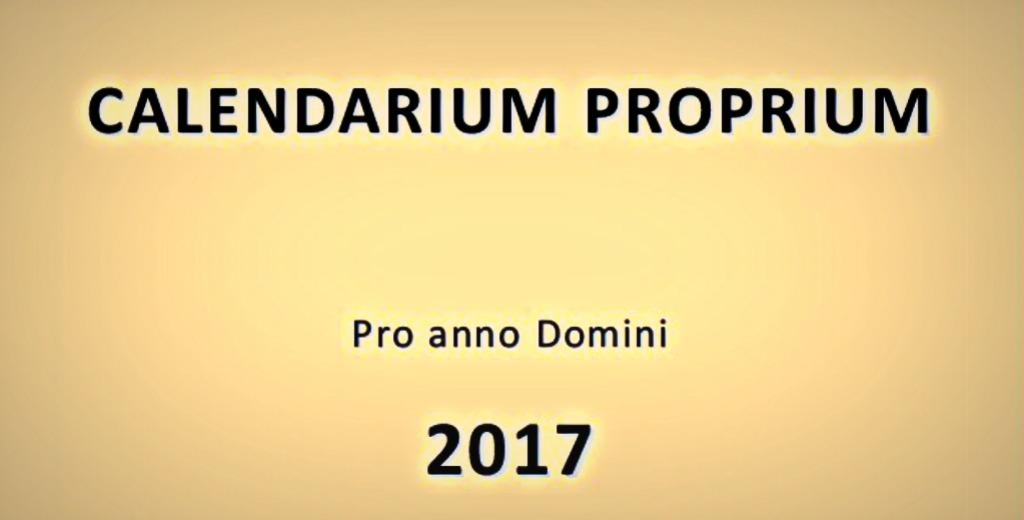 Calendario Proprio della Congregazione 2017
