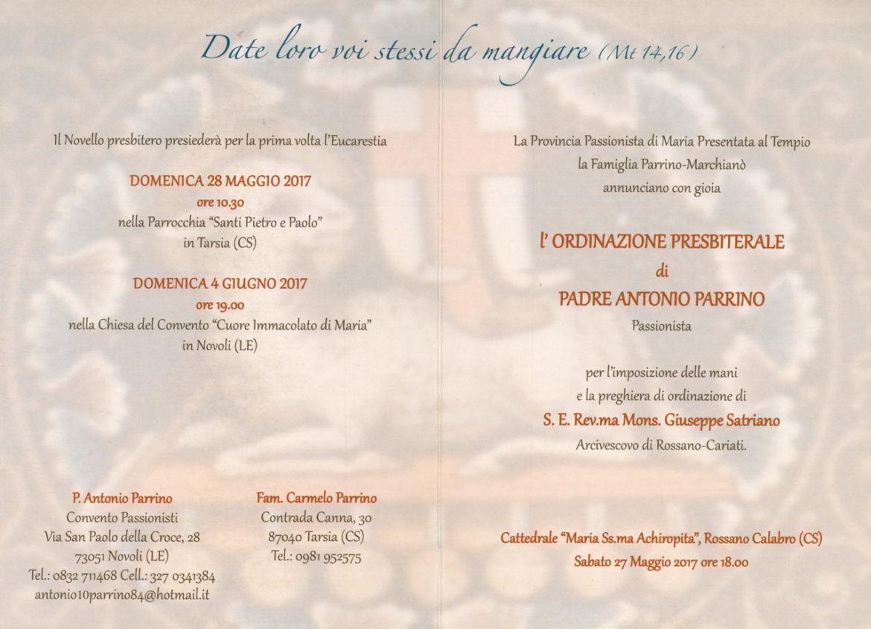 Ordinazione Presbiterale di p. Antonio Parrino