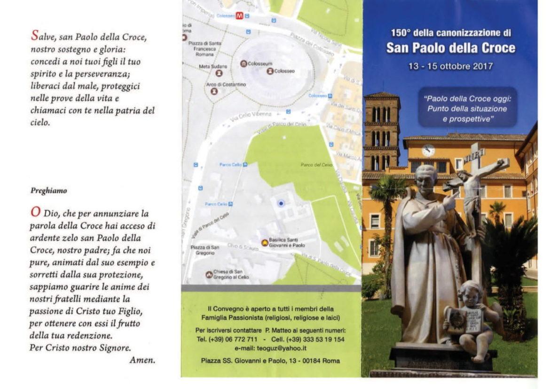 150° della canonizzazione di san Paolo della Croce