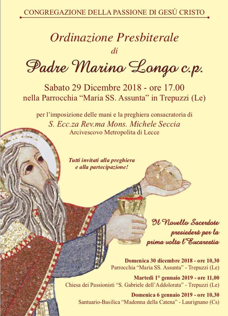 Ordinazione Presbiterale di Padre Marino Longo