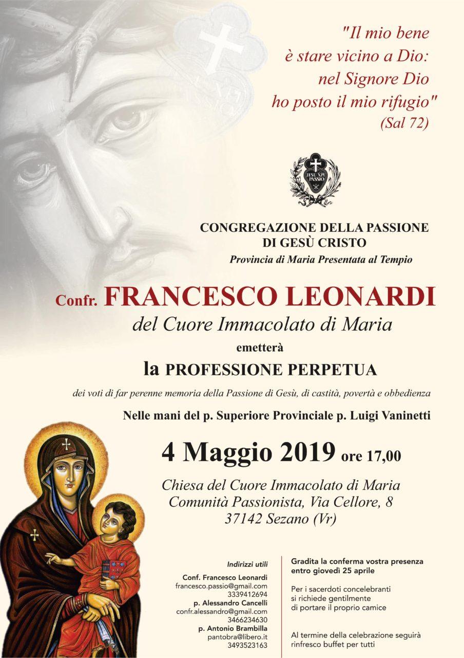 Professione Perpetua di Conf. Francesco Leonardi